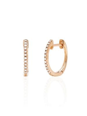 Diamond & 14K Rose Gold Huggie Hoop Earrings