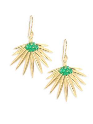 Emerald 18K Gold Fan Palm Earrings
