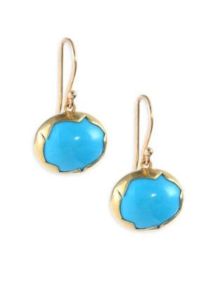 18k Gold and Turquoise Drop Earrings