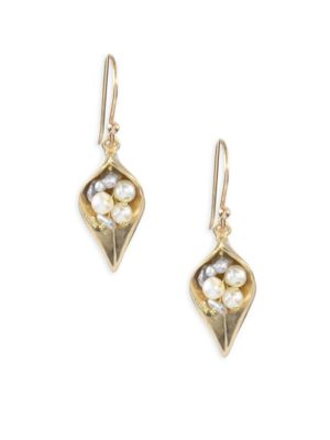 1-3MM Pearl & 14K Gold Small Day Flower Earrings