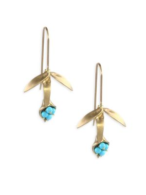 Turquoise & 14K Gold Wildflower Earrings