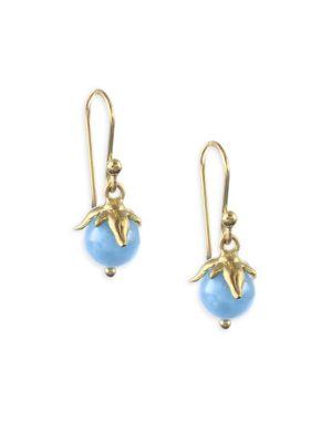 Flora Natural Aquamarine & 18K Yellow Gold Berry Earrings