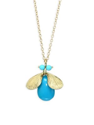 Fauna Jeweled Bug Natural Turquoise & 14K Yellow Gold Necklace