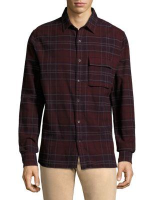 Bellowed Plaid Long-Sleeve Cotton Shirt