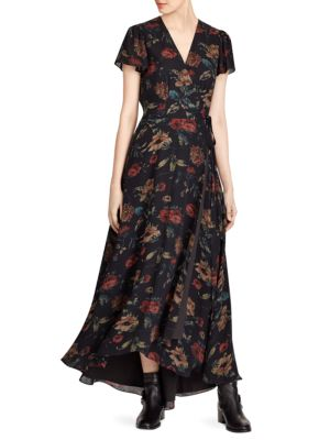 Camron Floral Wrap Silk Dress