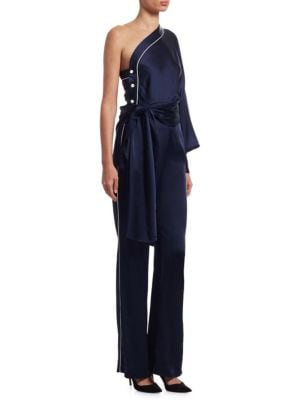 One-Shoulder Satin Jumpsuit