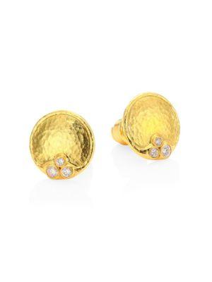 GURHAN Pointelle 22K Yellow Gold & Diamond Stud Earrings