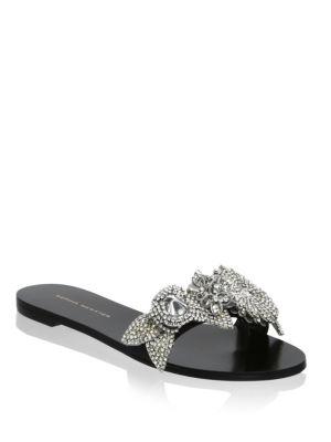 Lilico Crystal-Embellished Leather Slides