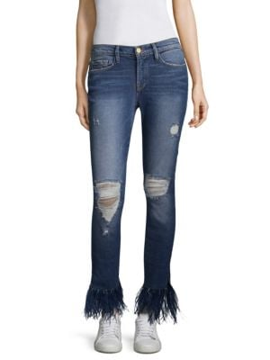 Chrystie Medium Wash Distressed Feather Trim Jeans