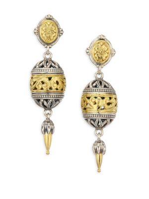 Gaia 18K Yellow Gold & Sterling Silver Open Ball Drop Earrings