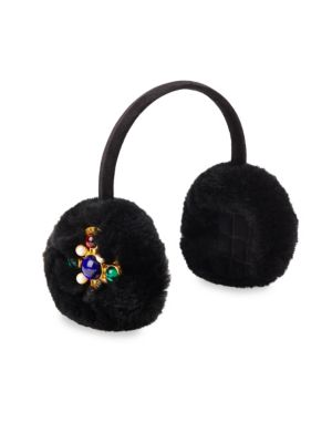 Embellished Rabbit Fur & Velvet Earmuffs