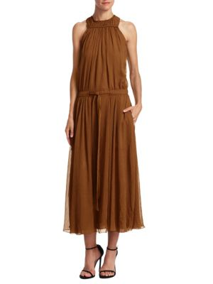 High Ruched Neck Maxi Dress