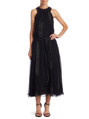 High Ruched Neck Silk Midi Dress