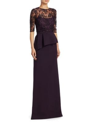 Crepe Beaded Lace Gown
