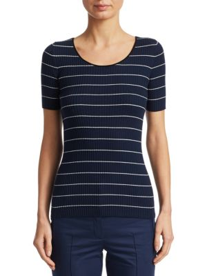 Ribbed Knit Striped Pullover