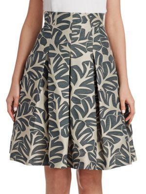 Tropical Leaf Jacquard Skirt