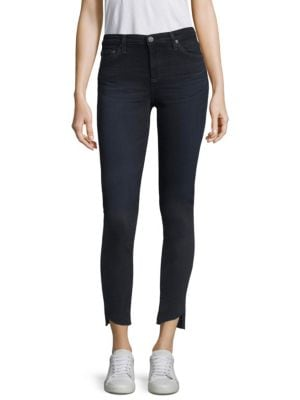 Raw Cut Slanted Step-Hem Ankle Jeans