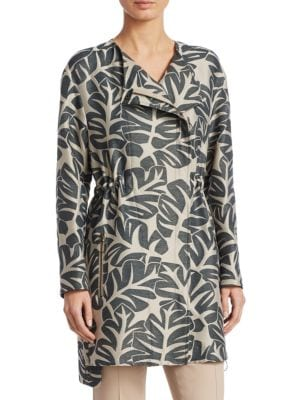TROPICAL LEAVE JACQUARD HIDDEN ZIP COAT