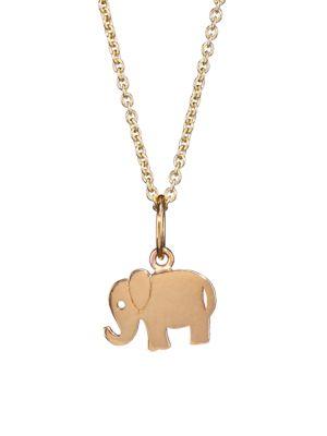 14 K Yellow Gold Elephant Pendant Necklace by Sydney Evan