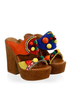 ELINA LINARDAKI La Fiesta Suede Platform Sandals
