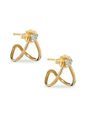 Diamond & 14K Yellow Gold Split Earrings