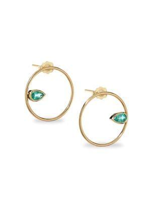 Gemfields Emerald & 14K Yellow Gold Circle Earrings