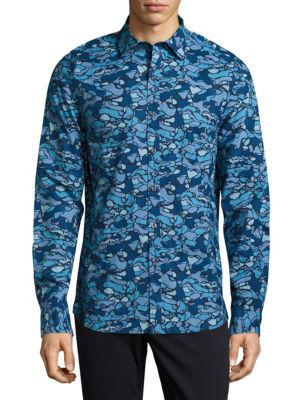 MICHAEL BASTIAN Camo Cotton Button-Down Shirt