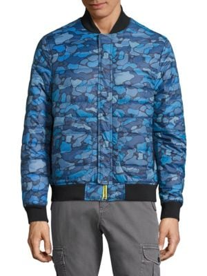 Camo Print Long-Sleeve Puffer Jacket