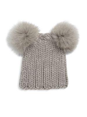 Mimi Double Fox Fur Pom Hat