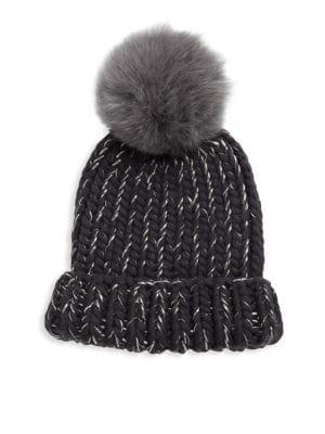 Rain Fox Fur Pom Hat