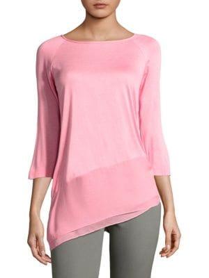 Silk-Blend Asymmetrical Blouse