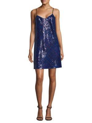 Tartan Sequin Slip Dress