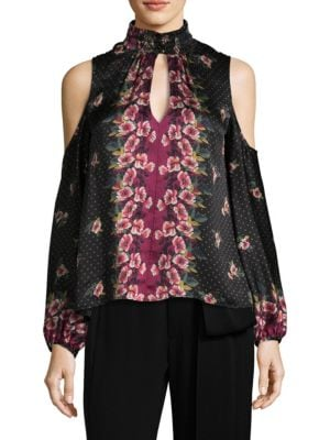 Jardin Silk Cold Shoulder Blouse