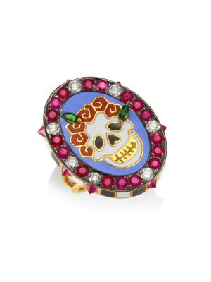 Diamonds & 18K Yellow Gold Gemstone Skull Ring