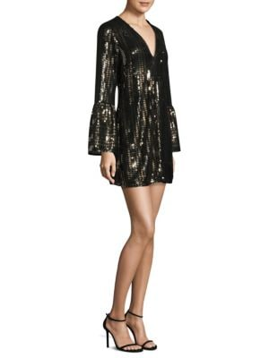 Sequined Bell Sleeves Mini Dress