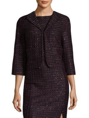 Scalloped Sequin Tweed Bolero Jacket