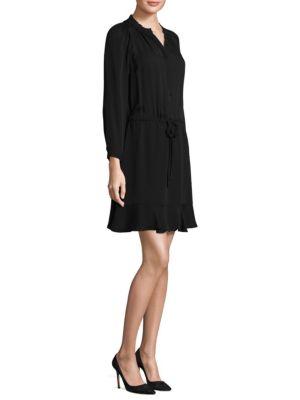 Drawstring Silk Shift Dress