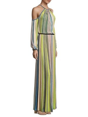 Striped Cold Shoulder Gown
