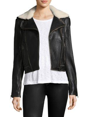 Donna Shearling & Leather Biker Jacket