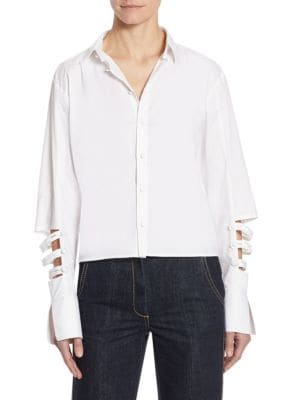 Cutout Poplin Cotton Blouse