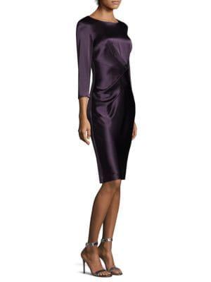 Satin Quarter-Sleeve Sheath Dress