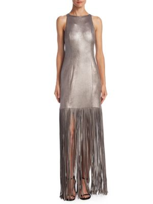 Metallic Fringed Gown