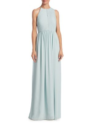 Plisse Fortuny Ruched Gown