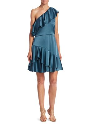One Shoulder Flounce Dress