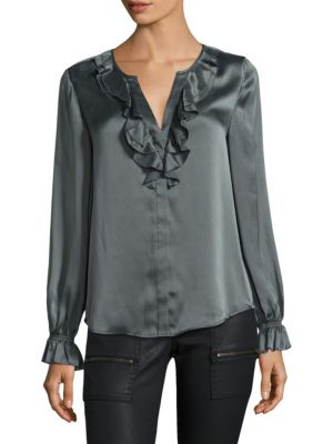 Ruffled Long-Sleeve Silk Blouse