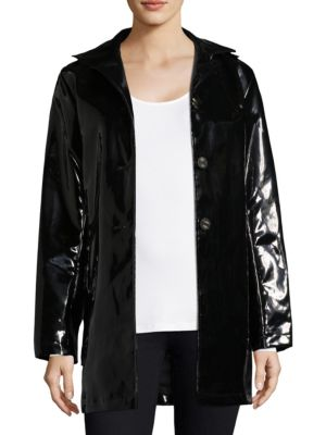 JANE POST High Shine Slicker Coat