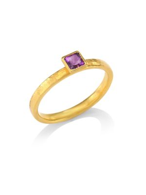 Delicate Hue Square Amethyst Stacking Ring