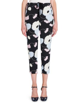 Silk Floral Cropped Pants