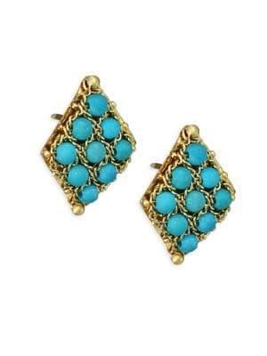 Turquoise & 18K Yellow Gold Earrings