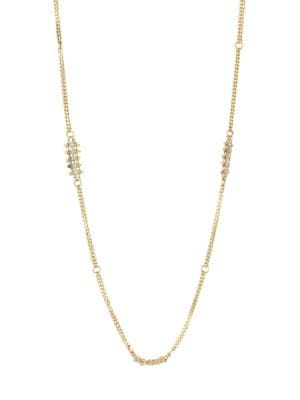 18K Yellow Gold & Silver Diamond Necklace